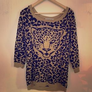 Cotton emporium vintage leopard sweater! Sz L